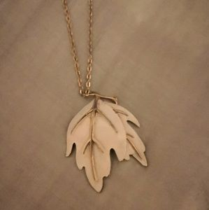 Vintage white and gold leaf necklace